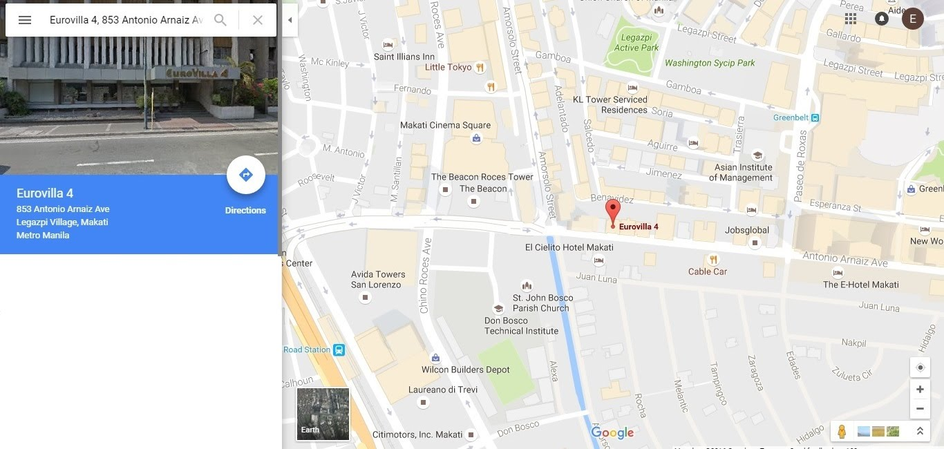 https://www.google.com.ph/maps/place/Eurovilla+4,+853+Antonio+Arnaiz+Ave,+Legazpi+Village,+Makati,+Metro+Manila/@14.5514034,121.0142915,17z/data=!3m1!4b1!4m5!3m4!1s0x3397c91180d73aa3:0xd57c79967d3db430!8m2!3d14.5514034!4d121.0164802